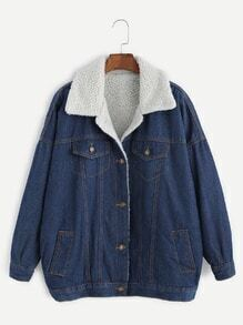 Blue Drop Shoulder Sherpa Lined Denim Jacket