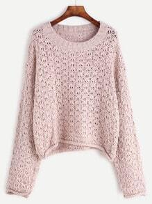 Pale Pink Round Neck Long Sleeve Sweater