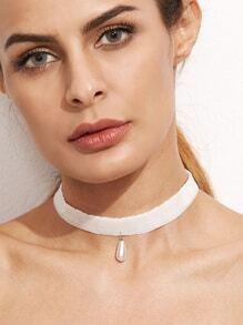 White Velvet Faux Pearl Choker Necklace