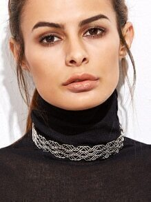 Silver Plated Hollow Out Minimalist Choker Necklace