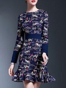 Blue Crew Neck Print Frill Dress