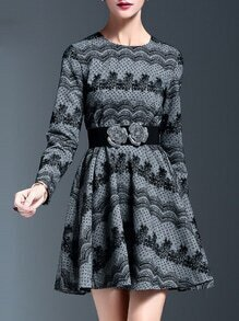 Grey Contrast Lace Belted A-Line Dress