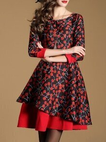 Black Cherries Print Asymmetric Dress
