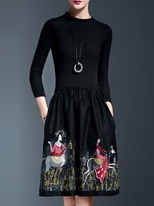 Black Knit Embroidered Pockets Combo Dress