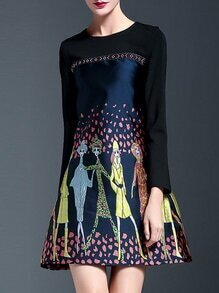 Black Character Print Shift Dress