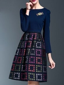 Navy Sequined Print A-Line Dress