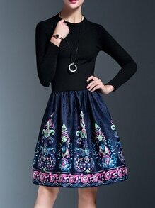 Blue Knit Print Jacquard Combo Dress