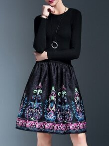 Black Knit Print Jacquard Combo Dress