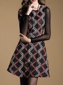 Color Block Sleeveless Jacquard A-Line Dress