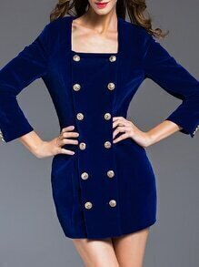 Blue Boat Neck Zipper Sheath Dress