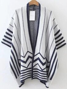 Striped Open Front Cape Sweater