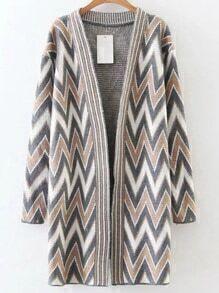 Khaki Chevron Pattern Collarless Long Cardigan