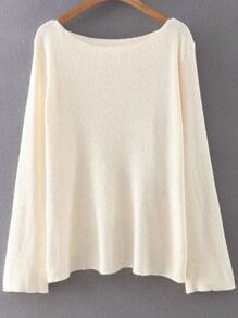 Beige Boat Neck Cross Back Knitwear