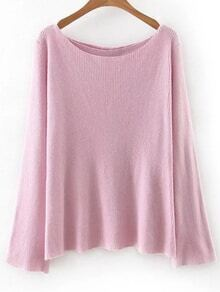 Pink Boat Neck Cross Back Knitwear