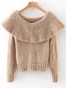 Khaki Ribbed Boat Neck Sweater