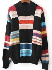 Patchwork Crew Neck Loose Sweater