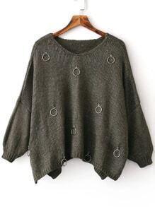 Army Green Ring Embellished V Neck Slit Drop Shoulder Sweater