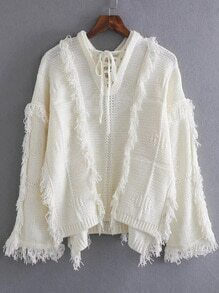 White Tie V Neck Fringe Trim Dip Hem Sweater