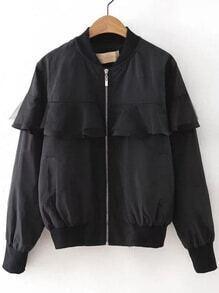 Black Mesh Ruffle Zipper Up Jacket