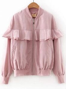 Pink Mesh Ruffle Zipper Up Jacket