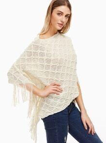 Beige Fringe Detail Asymmetrical Poncho Sweater