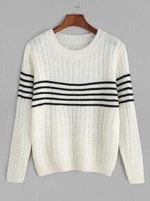 Beige Contrast Striped Knitwear