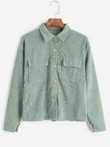 Pale Green Corduroy Dual Pocket Front Shirt