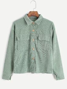 Pale Green Corduroy Dual Pocket Front Shirt