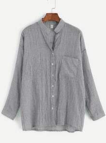 Grey Band Collar Drop Shoulder Pocket Blouse