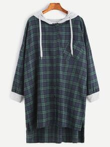Contrast Trim Plaid High Low Pocket Hooded Shirt Dress