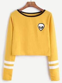 Yellow Alien Print Contrast Neck Striped Trim Crop T-shirt