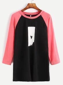 Contrast Raglan Sleeve Printed T-shirt