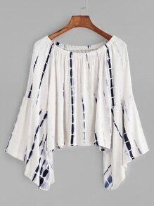 Tie Dye Boat Neck Bell Sleeve T-shirt