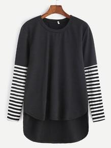 Black Contrast Striped Sleeve Dip Hem T-shirt