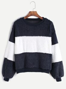Navy Contrast Drop Shoulder Sweatshirt