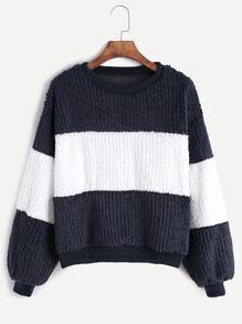 Navy Contrast Drop Shoulder Sweatshirt