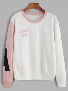 Contrast Letter Print Embroidered Sweatshirt