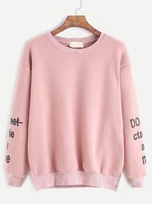 Pink Sleeve Letters Print Slit Side Sweatshirt