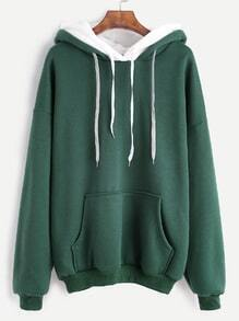 Green Drop Shoulder Pocket Double Drawstring Hooded Sweatshirt