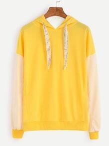 Contrast Dropped Shoulder Seam Drawstring Hooded Sweatshirt