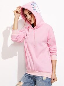 Pink Hood Print Drop Shoulder Drawstring Sweatshirt