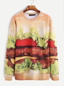 Hamburger Print Long Sleeve Sweatshirt