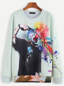 Pale Green Clown Print Sweatshirt