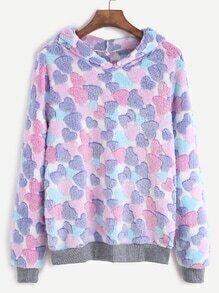 Contrast Trim Heart Pattern Hooded Fuzzy Sweatshirt