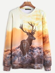 Deer Print Long Sleeve Sweatshirt