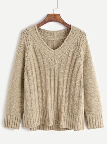 Light Khaki V Neck Raglan Sleeve Ribbed Knit Sweater