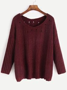 V Neck Drop Shoulder Eyelet Ribbed Knit Sleeve Sweater