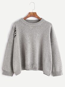 Light Grey Dropped Shoulder Seam Ripped Sweater