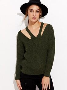 Army Green Drop Shoulder Cut Out Twist Front Sweater