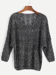 Black V Neck Drop Shoulder Eyelet Sweater
